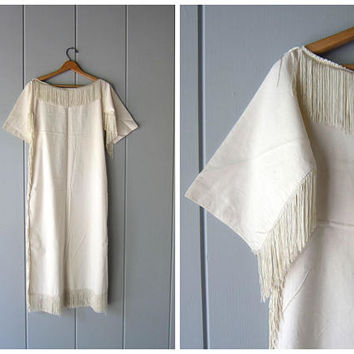 Natural White Cotton Dress Long Fringed White Slip Dress Boho Flapper Dress Thin Sheer Cotton Tunic Caftan Gypsy Midi Dress Womens XS Small