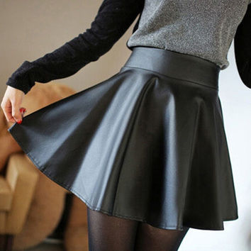 Korean Fashion High Waist Flared Pleated Short Mini Skirt = 1947057348