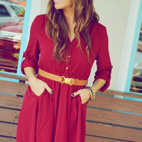 Sweet And Simple Dress: Burgundy | Hope's