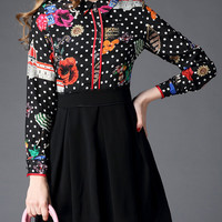 Black Collared Floral Polka Print A-Line Dress