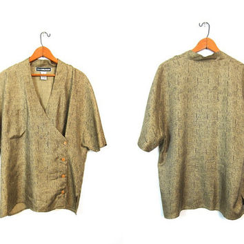 Silk Kimono Blouse Button Up Wrap Shirt Slouchy Short Sleeve Golden Green Top Modern Silk Pocket Blouse Medium