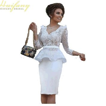 Sexy V-Neck Knee Length Long Sleeve Cocktail Dresses Short Lace Peplum Party Dress Vestidos De Fiesta Corto