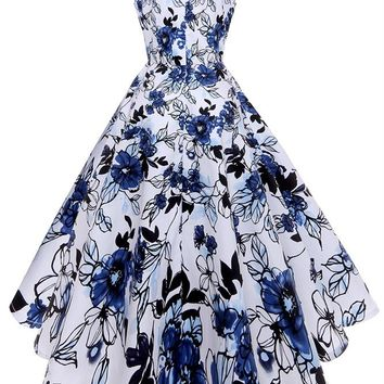 B| Chicloth Solid Blue Vintage Dress Chinese Style Floral Print Sexy V Neck Women Dress