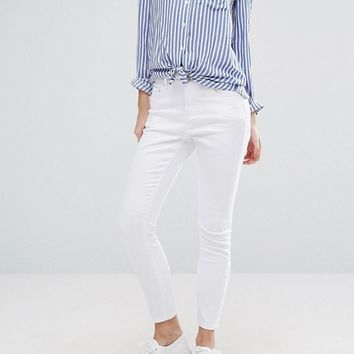 ASOS PETITE RIDLEY High Waist Skinny Jeans in White at asos.com