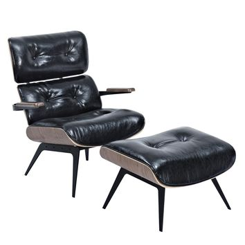 Eames Inspired Lounge Chair And Ottoman Milano Black Leatherette