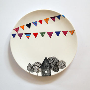 Village Wall Plate - Small size