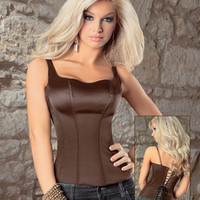 Smooth & Comfy Adjustable Strap Zip Side Corset Carmel Cafe 32