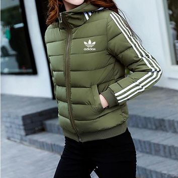 """Adidas"" Women Sport Casual Fashion Stripe Long Sleeve Zip Cardigan Hooded Cotton-padded Clothes Bread Service Coat"