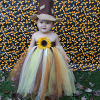 Scarecrow costume - Halloween Costume Tutu - Scarecrow tutu - Girls Scarecrow Costume - sunflower tutu dress - fall tutu dress- baby costume