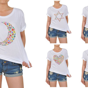 Women Multicolored Icons Graphic Printed Cotton T-shirt  WTS_12