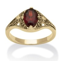 1.40 TCW Oval Cut Genuine Garnet 14k Yellow Gold-Plated Antique-Finish Vintage Style Ring