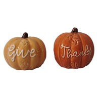 Harvest ''Give Thanks'' Salt & Pepper Shaker Set (Orange)
