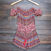 strapless off the shoulder tiki romper - red