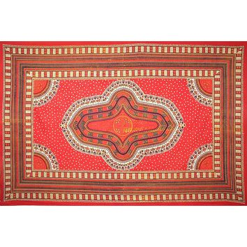 Handmade 100% Cotton Dashiki Tapestry Tablecloth Bedspread Coverlet Twin Orange