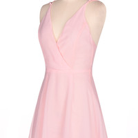 Pink Spaghetti Strap Chiffon Dress