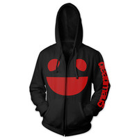 deadmau5 Official Store | deadmau5 Black and Red Logo Zip Hoodie