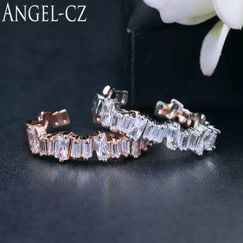 ANGELCZ Baguette Cubic Zirconia Simple Resizeable Rings For Women Rose Gold Color Geometric Jewelry Korean Fashion Style AR037