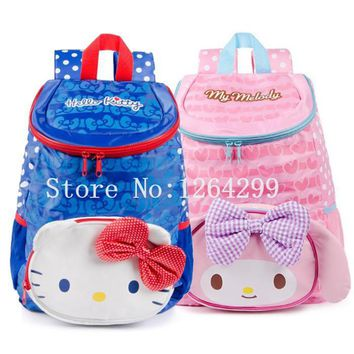 New Fashion Hello Kitty My Melody Girls School Bags Kids Cartoon Light Waterproof Backpack Bag For Children Gifts