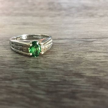 Vintage Tsavorite Garnet (green garnet) Ring in 14k White Gold with Diamonds, 1/4 carat total H I1, US Size 7 (ring sizing available)