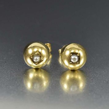 Antique Gold Pearl Stud Earrings Bridal Jewelry