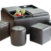 Ridgeville Brown Storage Ottoman - Ottomans (Brown)