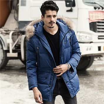 Men Winter Thicken Warm White Down Coats Mink Fur Collar Plus Size Solid Color Male Thremal Hooded Parkas For Men A2530
