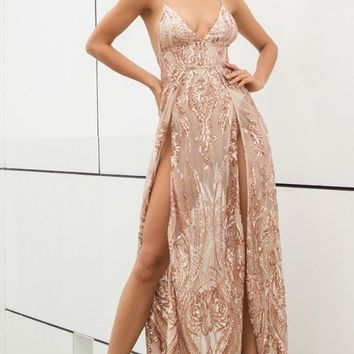 Total Takeover Gold Sequin Sleeveless Spaghetti Strap Plunge V Neck Double Slit Maxi Dress