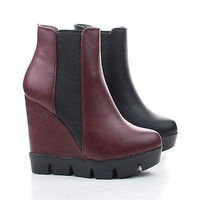 Invent01 Oxblood By Bamboo, Almond Toe Slip On Lug sole Wedge Ankle Bootie