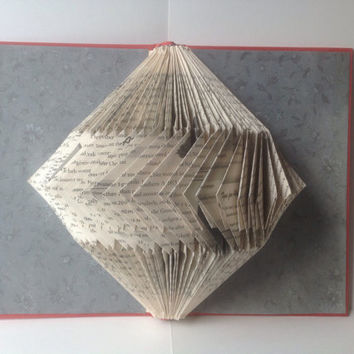 Folded Book Art, Origami, Repurposed Library, Upcycled, Recycled Book, Folded Pages, Hardcover Book, Altered Book, Eat