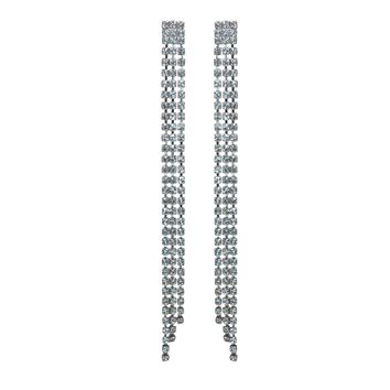 C Major Crystal Chain Earrings - Pair