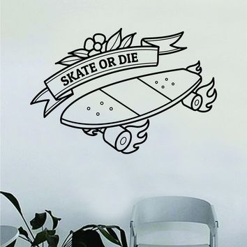 Skate Or Design Wall Decal Decor Decoration Sticker Vinyl Art Bedroom Room Teen Quote Sports Skating Skateboard