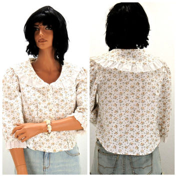 80s cotton floral cropped prairie blouse S /M, vintage cotton eyelet crop top, boho cottage chic, cotton  cropped shirt, SunnyBohoVintage