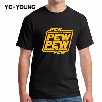 """Yo-Young Men T Shirts Star War Funny Letters Design """"PEW PEW PEW"""" Golden PU Printed 100% 180g Combed Cotton Casual T Shirts"""