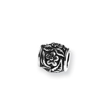 Sterling Silver Floral Pattern Bead Charm