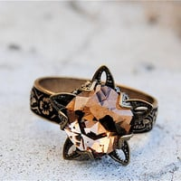 Swarovski Crystal Ring - Stargazer Victorian - Vintage Dark Champagne and Antiqued Brass Adjustable Ring