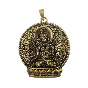 my shape 5pcs Buddha Meditation Religious Necklace Pendant Antique Bronze Plated For Diy Charm Necklace Jewelry Metal Alloy