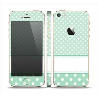 The Vintage Light Green Polka Dot With White Strip copy Skin Set for the Apple iPhone 5s