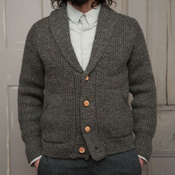 The Central Cardigan   Olive Tweed Wool