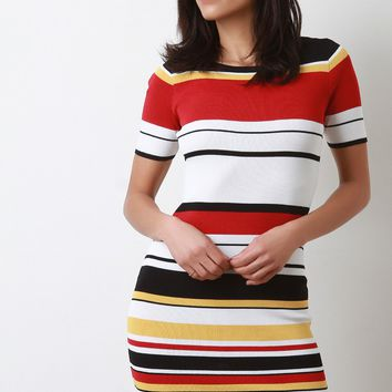 Striped Short Sleeves Rib Knit Bodycon Dress