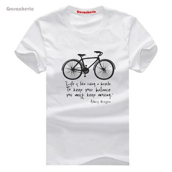 Life is like riding a bicycle New Fashion Men's T-shirts Short Sleeve Tshirt