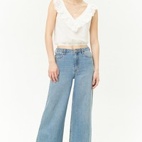 Eyelet Ruffle Crop Top