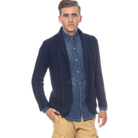 SALE-CABLE KNIT 3 BUTTON BLAZER-NAVY