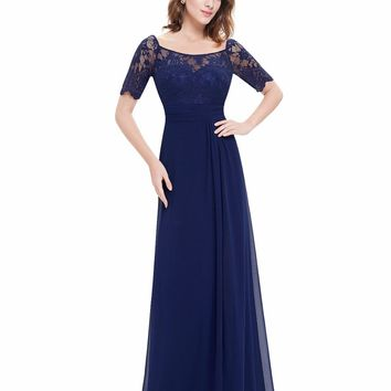 Navy Blue Evening Party Dress Ever Pretty EP08793NB  Plus Size New 2018 Short Sleeves Women Long Formal Party Elegant Dresses