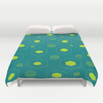 Teal Lime Duvet Cover Retro Teal Lime Duvet Hexagon Pattern Duvet Cover Teal Lime Bedding Hexagon Pattern Bedding King Queen Duvet Full