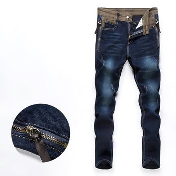 Top selling men's blue slim biker skinny jeans pants denim cargo pants ripped jeans long trousers size 28-34 AK26