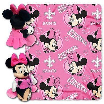 Minnie Mouse Cheerleader New Orleans Saints NFL Throw and Hugger Pillow Set