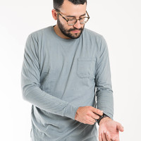 Long Sleeve Pocket Tee - Light Blue