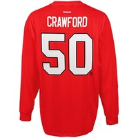Mens Chicago Blackhawks Corey Crawford Reebok Red Long Sleeve Player Name & Number T-Shirt