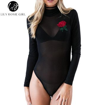 Lily Rosie Girl Black Sexy Mesh Though Women Bodysuits Embroidery Long Sleeve Turtleneck Leotard Summer Short Rompers Jumpsuit
