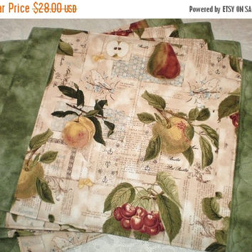 ON SALE Rectangular Place Mats Handmade Reversible Quilted Batik Table Accent Stylish Set of Four